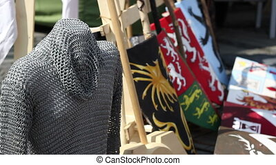 Chain Mail Armor - Middle Ages soldier helmet with chain...
