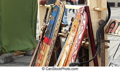 Medieval Weapons Stack - Wood shields, bows, swords and...