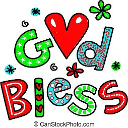 God Bless Cartoon Text Clipart - Hand drawn and colored...