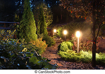 Illuminated garden path patio - Illuminated home garden path...