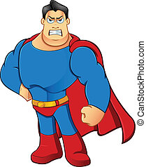 Superhero - Angry - A cartoon character illustration of a...