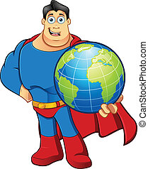 Superhero - Holding The Earth - A cartoon character...
