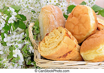 Assortment of bread in a basket