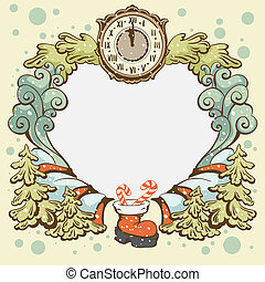 Christmas wreath retro card templat