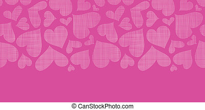 Pink lace hearts textile texture horizontal seamless pattern...