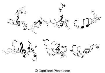 Music background with floral eleemnt over the white