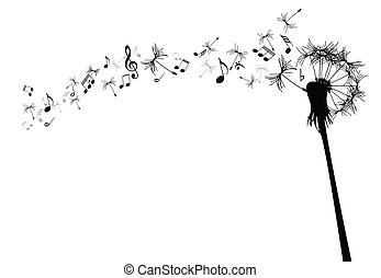 Vector dandelion with music notes against the white
