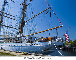 Ship at Boston Harbor - A tall ship is open for display at...
