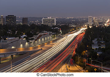 Los Angeles Freeway - San Diego Freeway running through the...
