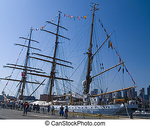 Tall Ship at Boston Harbor - A tall ship is open for display...