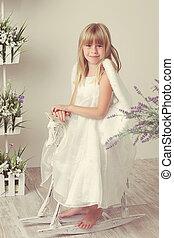 girl in an angel dress