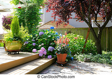 Deck with beautiful flowers in pots
