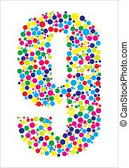 Vector illustration of number nine