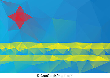 Aruba flag - triangular polygonal pattern