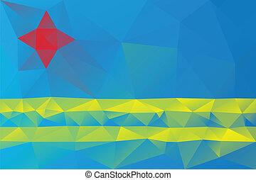 Aruba flag - triangular polygonal pattern