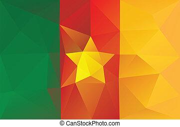 Cameroon flag - triangular polygonal pattern
