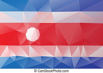 Costa Rica flag - triangular polygonal pattern