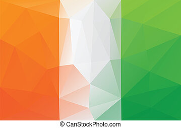 Cote d'Ivoire flag - triangular polygonal pattern