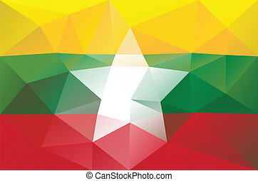 Myanmar flag - triangular polygonal pattern