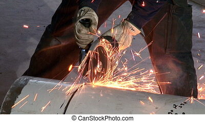Cutting a Pipe with a Circular Saw - Shots of civil works....