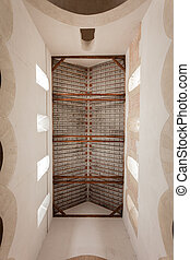 Coffered ceiling in mozarabic church - delicate coffered...