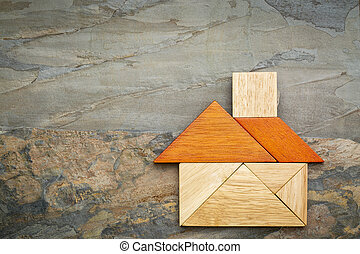 abstract tangram house - abstract picture of a house built...