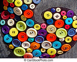 Bag decorated with colorful buttons 1 - Bag decorated with...