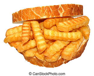 Chip Sandwich - Chip sandwich on sliced crusty white bread,...