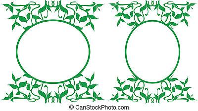 Oval Frames Collection - Floral decoration - Illustration...