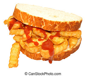 Chip Sandwich With Tomato Sauce - Chip sandwich on sliced...