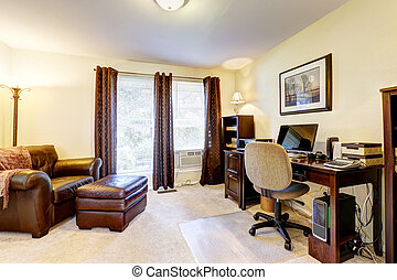 Luxury office room with leather chair, wooden desck and...