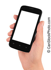 mobile phone - Touch screen mobile phone in hand isolated on...