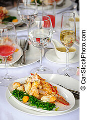 Prepared lobster on plate - Prepared lobster and sea weed...