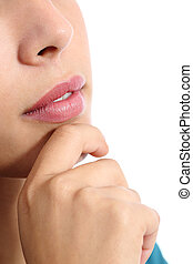 Close up of a pensive woman thinking