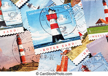 Lighthouses on stamps - Postage stamps printed by Germany...