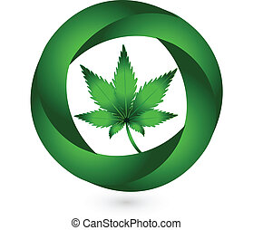 Cannabis leaf in circle swooshes vector icon design