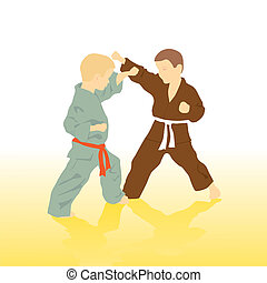 Two boys are engaged in karate