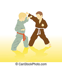 Two boys are engaged in karate.