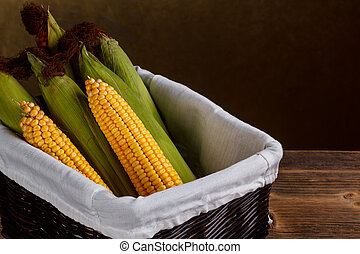 Raw corn cobs