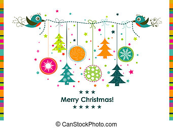 Template Christmas greeting card, ribbon, vector...