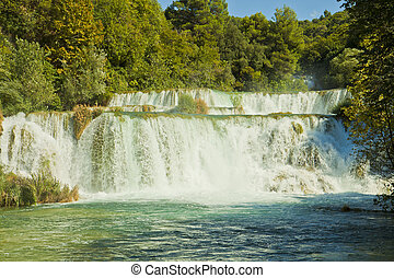 Croatia - Krka National Park, Krka waterfalls - River Krka ,...