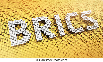 Pixelated BRICS - Pixelated acronym BRICS made from cubes,...