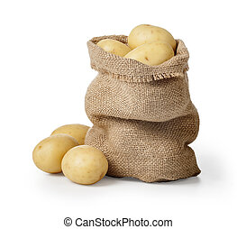 potatos - Raw potatoes in burlap bag isolated on white...
