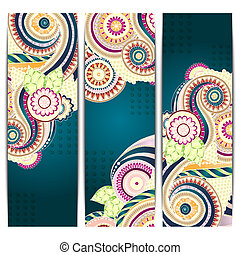 Ethnic Indian Pattern Cards With Paisley, Doodles and...