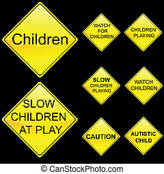 Eight Diamond Shape Yellow Road Signs Set 5 - Vector...
