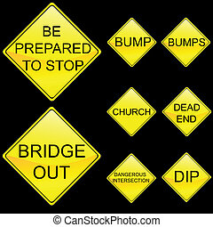 Eight Diamond Shape Yellow Road Signs Set 6 - Vector...