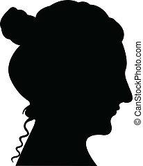 senhora, cabeça, silueta, vetorial