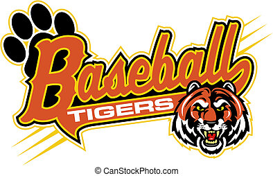 tiger baseball design with mascot head and paw print