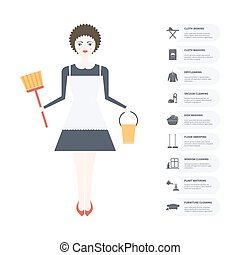 Pretty Housekeeper - Illustration of a young women doing...