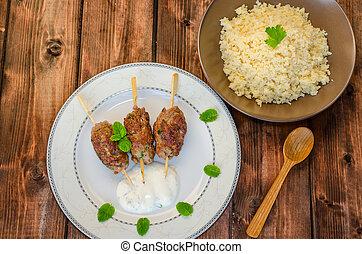 carne de vaca, kebab, Couscous